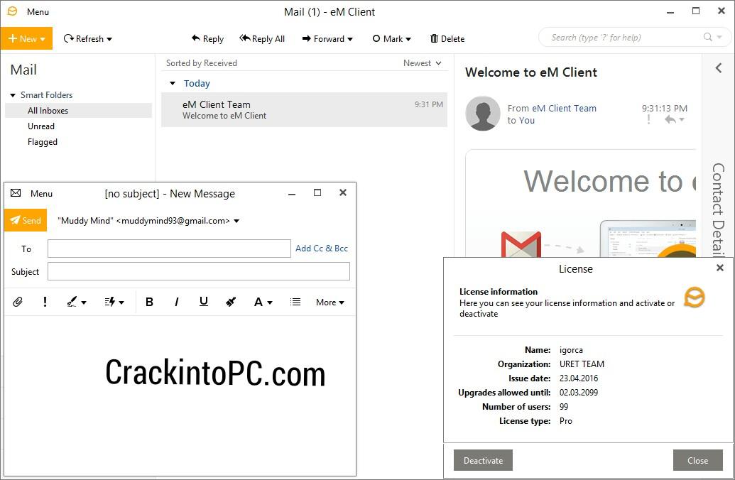 eM Client Pro 8.2.1237.0 Crack With Activation Key Win/Mac [2021 Download]